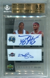 2004/05 Upper Deck Trilogy One Two Combo Clearcut Autographs #HJ Dwight Howard LeBron James 20/25 BGS 9.5