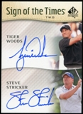 2014 Upper Deck SP Authentic Sign of the Times Duals #ST2WS Tiger Woods Steve Stricker A