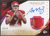 2014 Immaculate Collection #137 Aaron Murray Gold Rookie Patch Auto #10/10