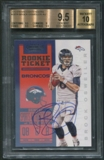 2012 Panini Contenders #207A Brock Osweiler White Jersey Rookie Auto BGS 9.5