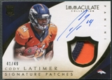 2014 Immaculate Collection #121 Cody Latimer Rookie Signature Patch Auto #41/49