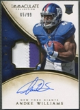 2014 Immaculate Collection #132 Andre Williams Rookie Patch Auto #65/99