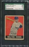 1948 Leaf Baseball #78 Walter Evers SGC 20 1.5 (FAIR) *5154