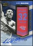 2014/15 Upper Deck Lettermen Karl Malone Retired Numbers Patch Auto #'d 4/5