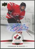 2014/15 Upper Deck Team Canada Juniors #99 Connor McDavid Gold Rookie Auto
