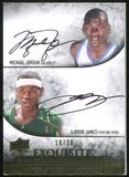 2012/13 Upper Deck Exquisite Collection Endorsements Dual #JJ Michael Jordan/LeBron James 18/30