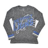 Detroit Lions Majestic Grey Gametime Gal V-Neck Long Sleeve Shirt (Womens S)