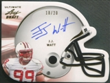 2011 Leaf Ultimate Draft #HJJW J.J. Watt Helmet Die Cut Gold Rookie Auto #18/20