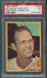 1962 Topps Baseball #129B Lee Walls Pinstriped Jersey Facing Left Green Tint PSA 5 (EX)