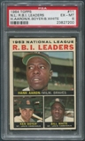 1964 Topps Baseball #11 NL RBI Leaders Hank Aaron Ken Boyer Bill White PSA 6 (EX-MT)