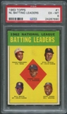 1963 Topps #1 NL Batting Leaders Tommy Davis Frank Robinson Stan Musial Hank Aaron Bill White PSA 6 (EX-MT)
