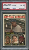 1964 Topps Baseball #7 NL Batting Leaders Tommy Davis Roberto Clemente Dick Groat Hank Aaron PSA 6 (EX-MT)