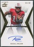 2012 Leaf Ultimate Draft #RW1 Russell Wilson Gold Rookie Auto #09/10