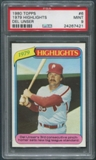 1980 Topps Baseball #6 Del Unser 1979 Highlights PSA 9 (MINT)