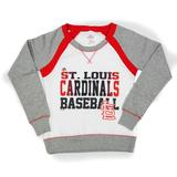 St. Louis Cardinals Majestic White Lovely Leaguer Crewneck Fleece (Womens S)