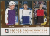 2007/08 ITG Heroes and Prospects #TM06 Eric Staal Marc Staal Jordan Staal Gold Jersey /10