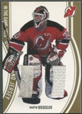 2002/03 ITG Used #GP3 Martin Brodeur Gold Goalie Pad and Jersey /10