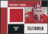 2010/11 ITG Decades 1980s #M70 Patrick Roy Game Used Jersey Gold /10