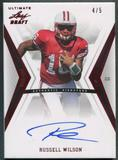 2012 Leaf Ultimate Draft #RW1 Russell Wilson Rookie Red Auto #4/5