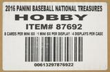 2016 Panini National Treasures Baseball Hobby 4-Box Case