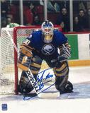 Martin Biron Autographed Buffalo Sabres 8x10 Blue Jersey Photo