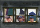 2004 SP Game Used Patch Triple Authentic Curt Schilling Gary Sheffield Kevin Brown 9/10