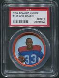 1962 Salada Coins Football #145 Art Baker PSA 9 (MINT)