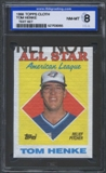 1988 Topps Cloth Baseball Tom Henke ISA 8 (NM-MT) *3065 (Test Set)
