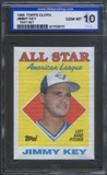 1988 Topps Cloth Baseball Jimmy Key ISA 10 (GEM MINT) *3072 (Test Set)