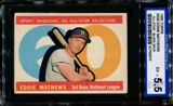 1960 Topps Baseball #558 Eddie Mathews All Star BLANK BACK ISA 5.5 (EX+) *0672