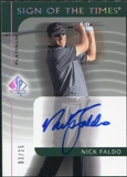 2003 Upper Deck SP Authentic Sign of the Times Platinum #NF Nick Faldo Autograph /25