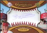 2007 Upper Deck Sweet Spot Signatures Red Stitch Blue Ink #BW Brandon Wood /350