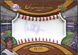 2007 Upper Deck Sweet Spot Signatures Red Stitch Blue Ink #CA Carl Crawford /99
