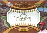 2007 Upper Deck Sweet Spot Signatures Gold Stitch Gold Ink #BP Brandon Phillips /25