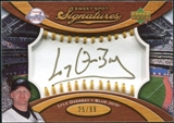 2007 Upper Deck Sweet Spot Signatures Gold Stitch Gold Ink #LO Lyle Overbay /99