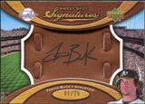 2007 Upper Deck Sweet Spot Signatures Glove Leather Black Ink #TB Travis Buck Autograph /75