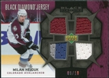 2007/08 Upper Deck Black Diamond Jerseys Black Quad #BDJHE Milan Hejduk /10