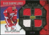 2007/08 Upper Deck Black Diamond Jerseys Black Quad #BDJNL Nicklas Lidstrom /10