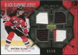 2007/08 Upper Deck Black Diamond Jerseys Black Quad #BDJPE Patrik Elias /10