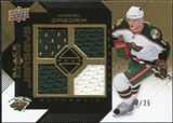 2008/09 Upper Deck Black Diamond Jerseys Quad Gold #BDJMG Marian Gaborik /25