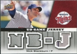 2009 Upper Deck UD Game Jersey #GJNB Nick Blackburn