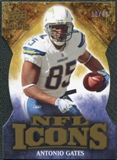 2009 Upper Deck Icons NFL Icons Die Cut #ICAG Antonio Gates /40