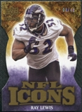 2009 Upper Deck Icons NFL Icons Die Cut #ICRL Ray Lewis /40