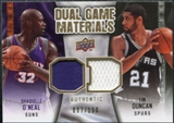 2009/10 Upper Deck Game Materials Dual Gold #DGDO Shaquille O'Neal Tim Duncan /150