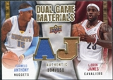 2009/10 Upper Deck Game Materials Dual Gold #DGJA Carmelo Anthony LeBron James /150