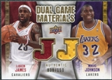 2009/10 Upper Deck Game Materials Dual Gold #DGJJ LeBron James Magic Johnson /150