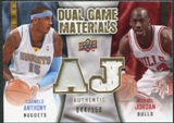 2009/10 Upper Deck Game Materials Dual Gold #DGNK Carmelo Anthony Michael Jordan /150
