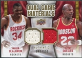 2009/10 Upper Deck Game Materials Dual Gold #DGOD Clyde Drexler Hakeem Olajuwon /150