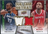 2009/10 Upper Deck Game Materials Dual Gold #DGST Shelden Williams Tracy McGrady /150