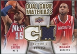 2009/10 Upper Deck Game Materials Dual Gold #DGVT Tracy McGrady Vince Carter /150